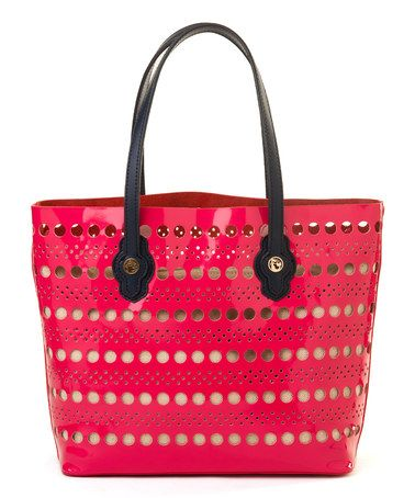 Look what I found on #zulily! Pink Leather Boutique Dotted Lace Tote #zulilyfinds