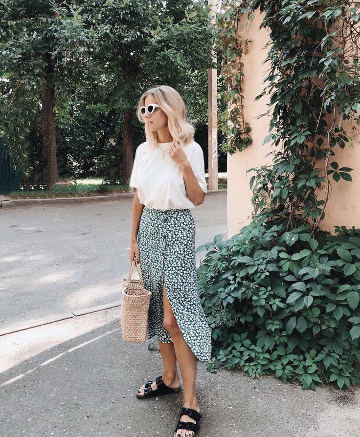 #spring #summer #maxiskirt #birkenstock #whitetee
