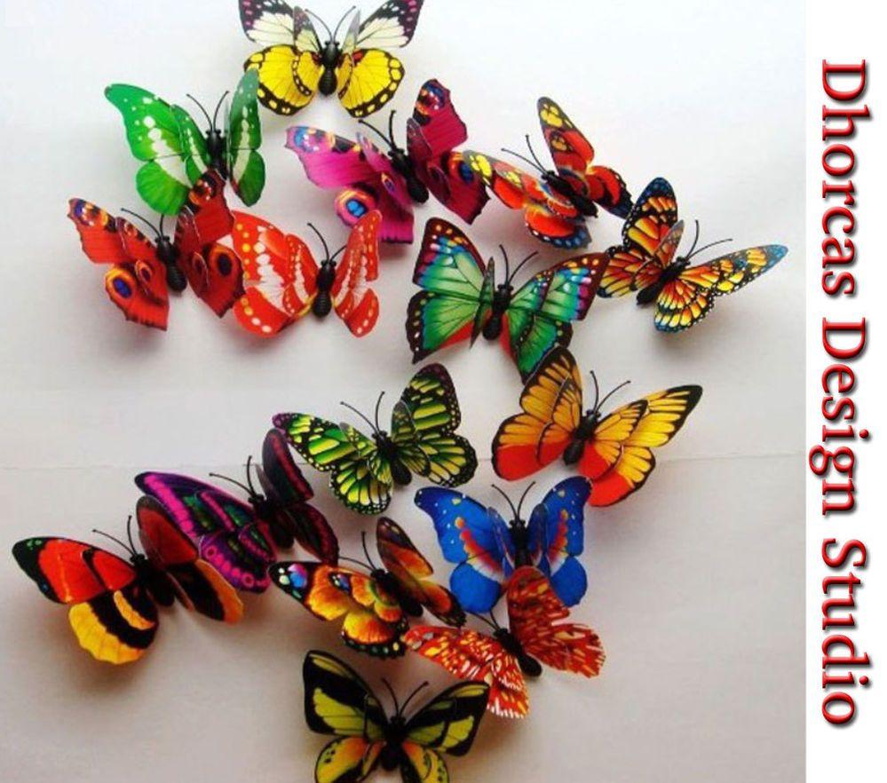 20pcs 3 3d pvc double wing magnet mixed butterflies craft wedding