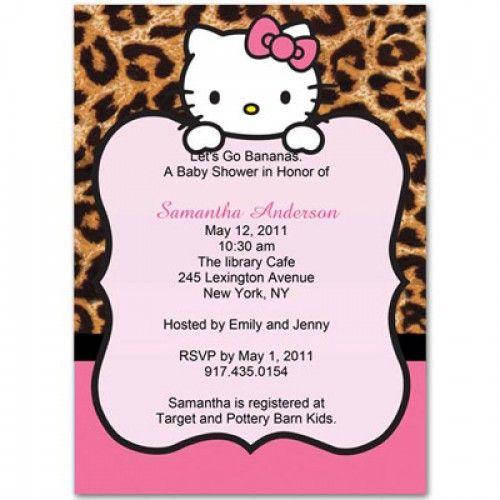 leopard hello kitty baby shower invitations i love these i want, Invitation templates