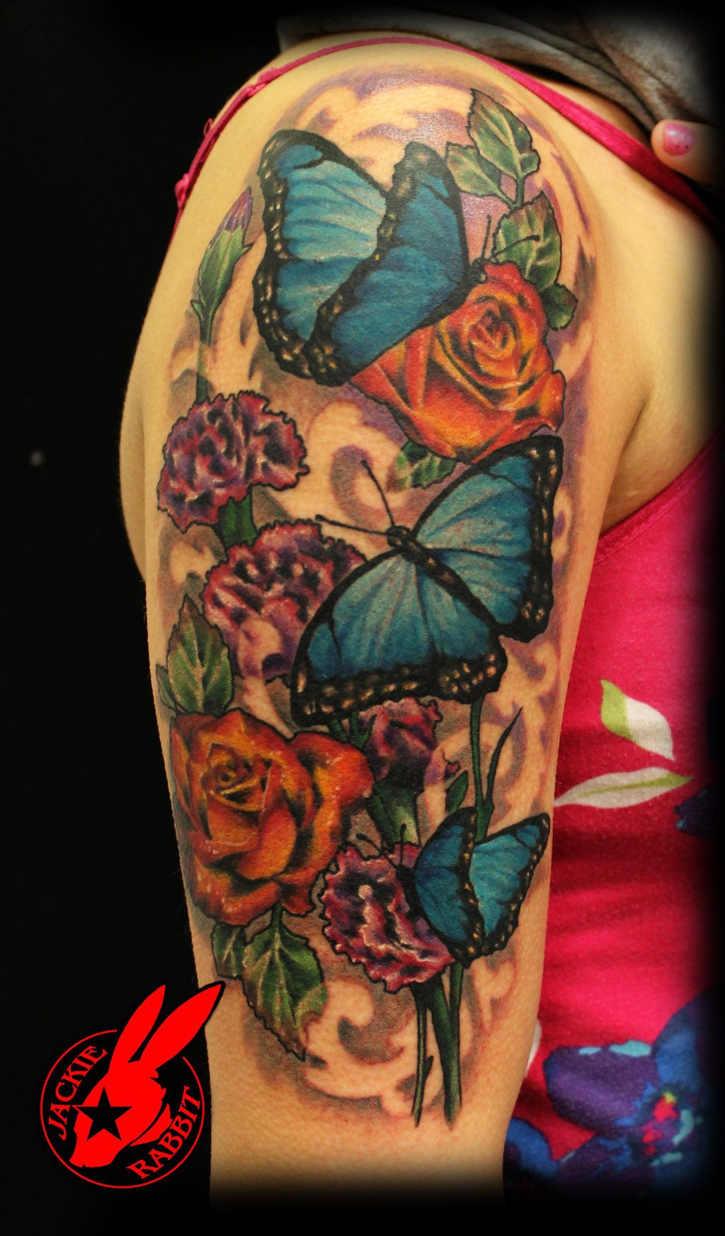 Watercolor Flower Moth Tattoo My Precious Ink: Blue Butterfly Flower Tattoo By Jackie Rabbit