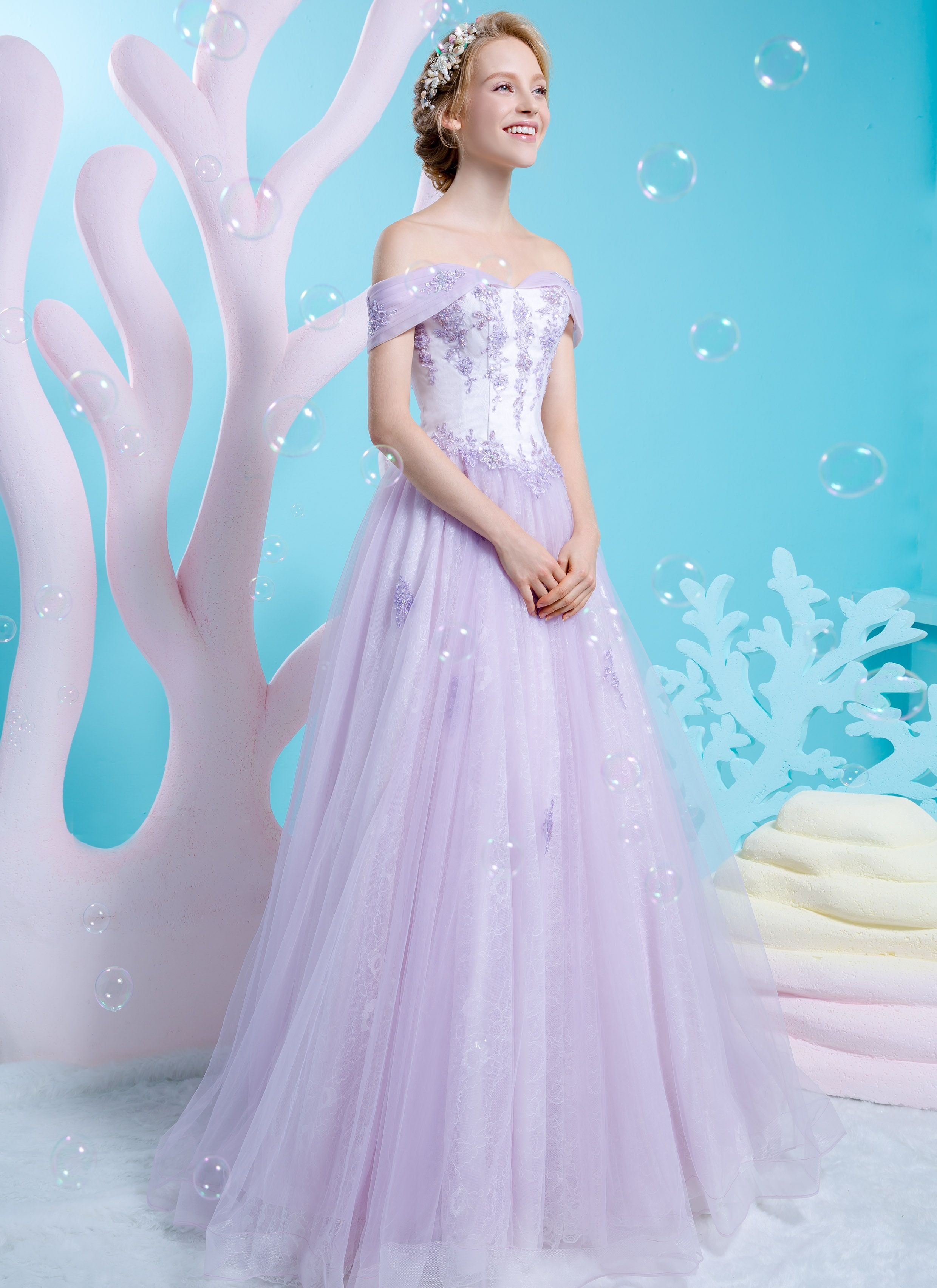 Off-shoulder princess gown in pastel purple with scattered lace for ...