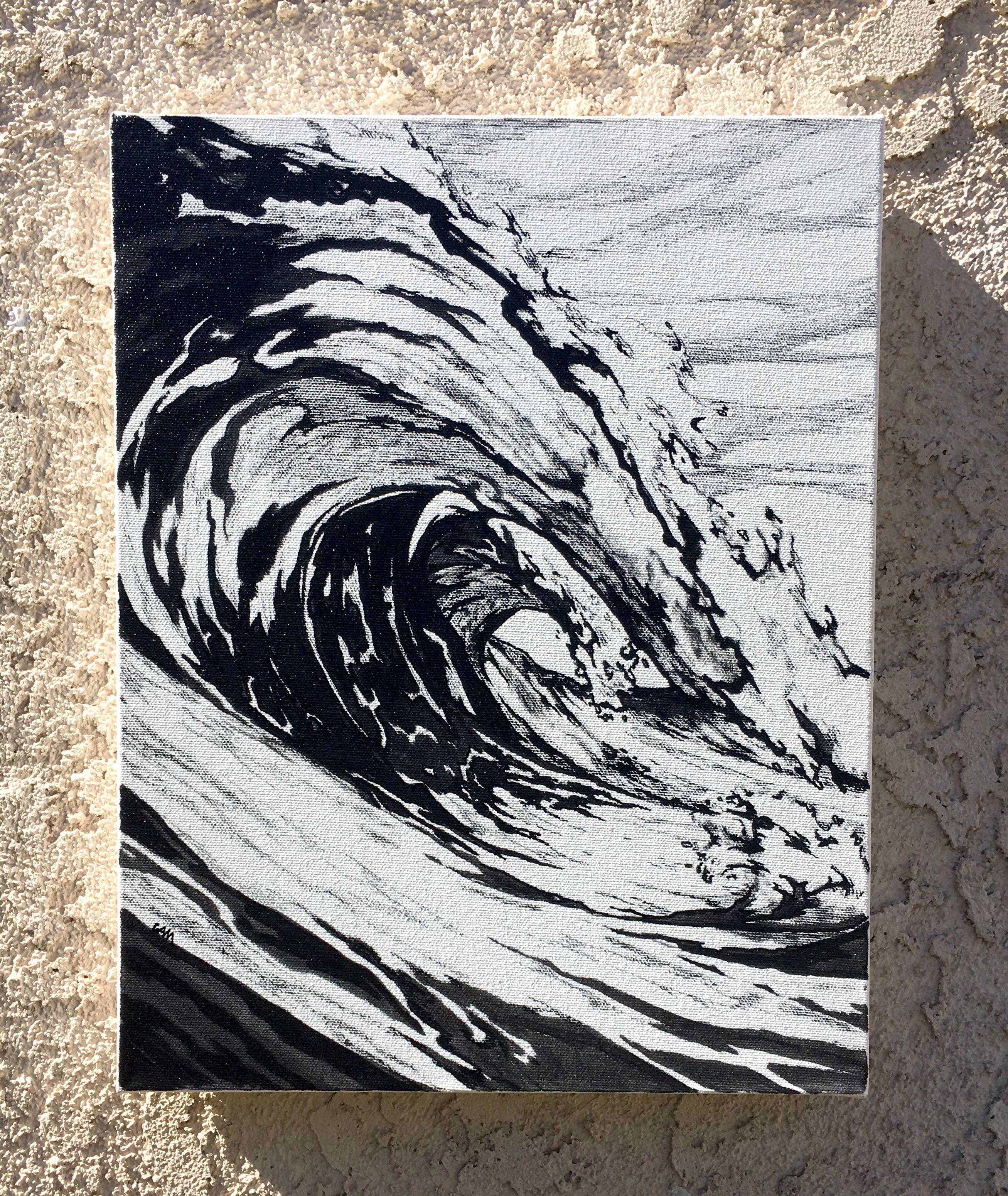 Wave, Black and White no 1   surf art   Black, white, Surf art, Black