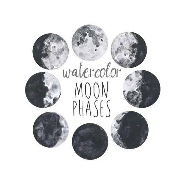 Watercolor Moon Phases, Lunar Chart Clip Art, Digital Download ...