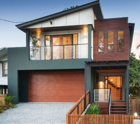 Charcoal neutral beige and warm merbau timber exterior - Modern house color schemes exterior ...