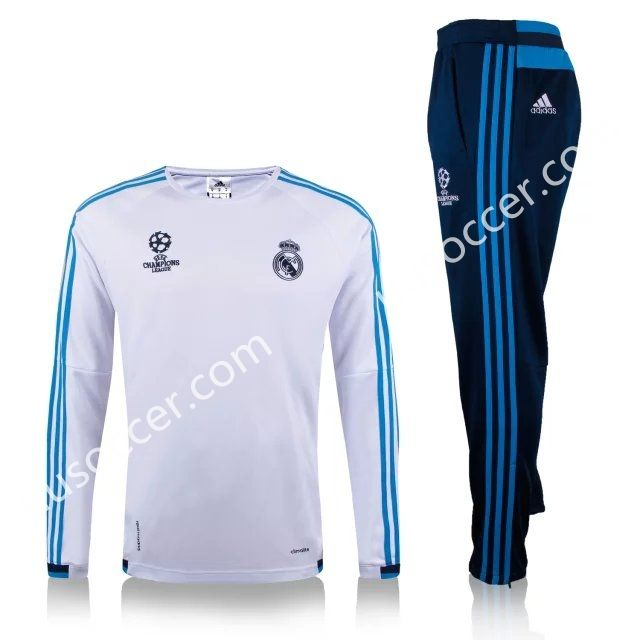 2015 16 Real Madrid Champions League White Thailand Soccer Tracksuit Football Sweater Real Madrid Champions League Tracksuit Tops