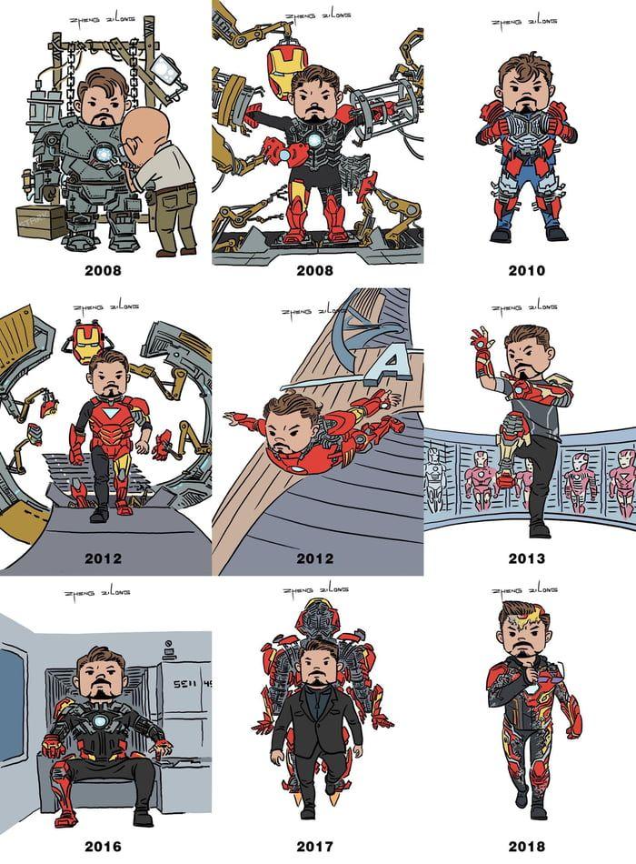 Tony Stark suit up moments. Artist : 口袋里的小青蛙