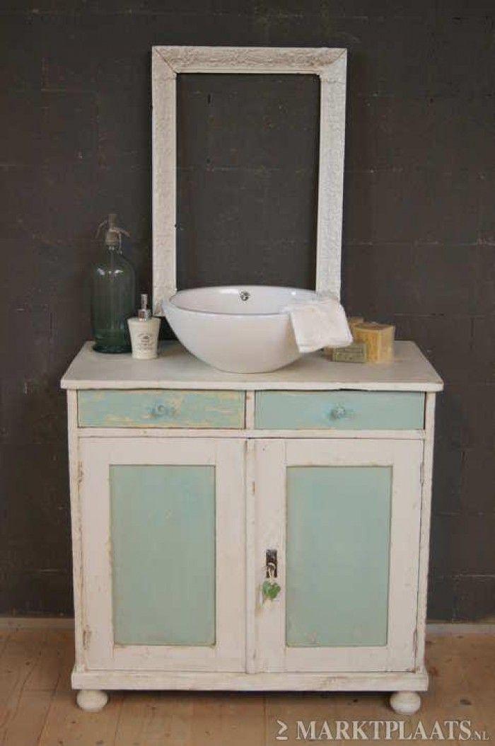oud kastje met wastafel  Google zoeken  badkamers  toilet  Pinterest  Fo # Wasbak Kastje_014734
