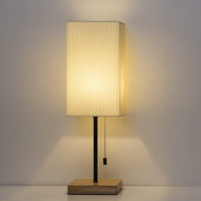 HAITRAL Bedside Table Lamp Square Nightstand Lamp with