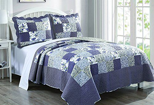 Delightful Dada Bedding Reversible Patchwork Plaid Floral Blueberry Patch Bedspread  Quilt Set, Navy Blue, Cal