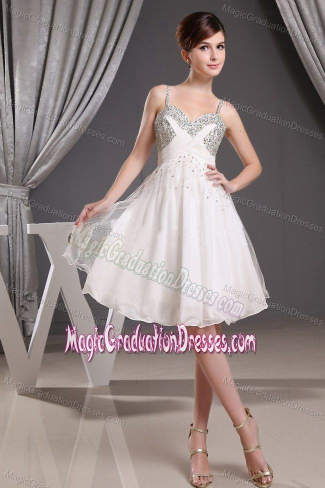 White Beaded Straps Mini Length Middle School Graduation