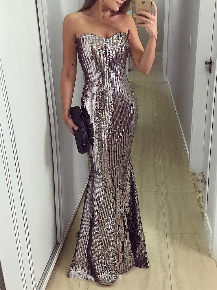 e1550346364 Shiny Sweetheart Neck Evening Dress in 2019