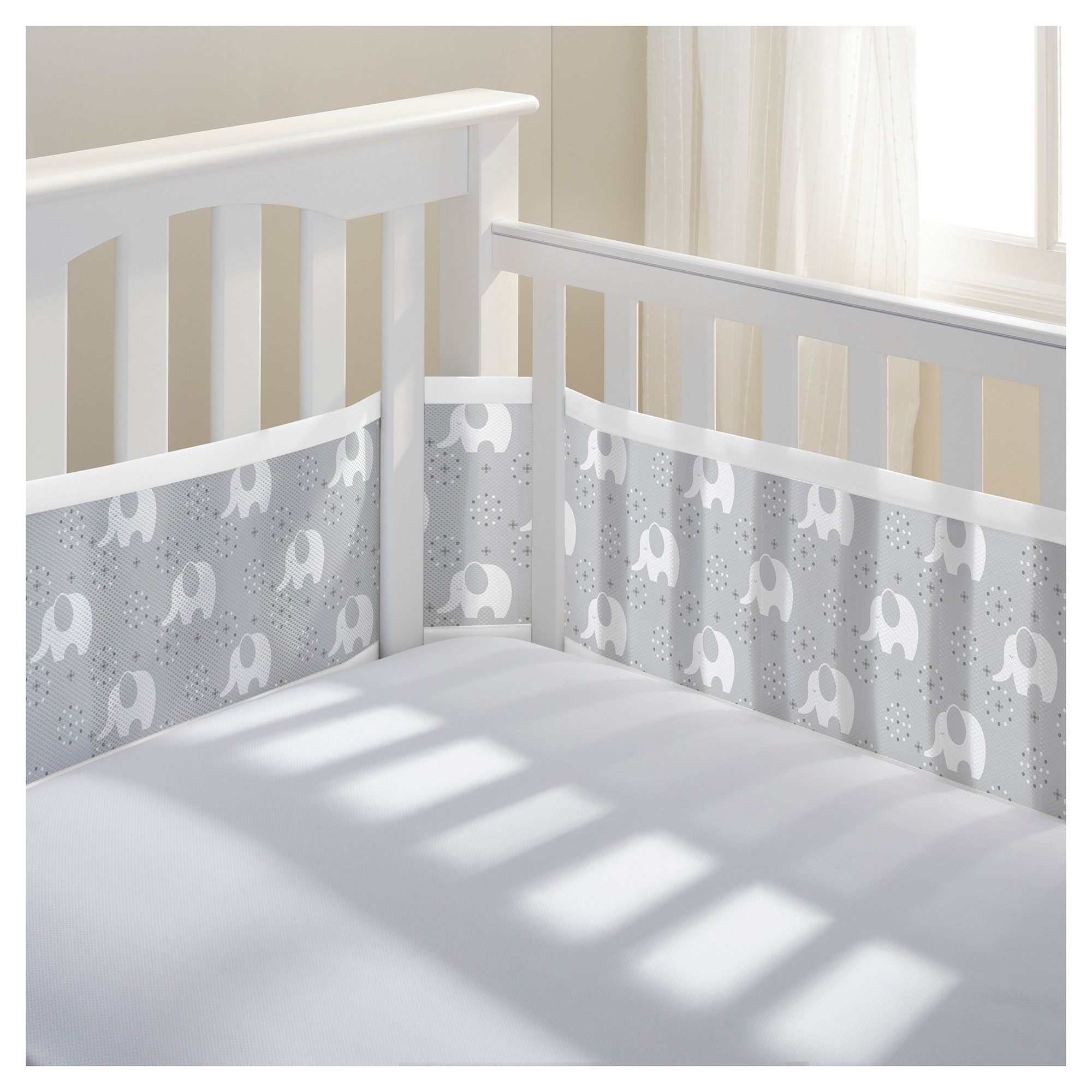 BreathableBaby Mesh Crib Liner Peaceful Elephant Gray