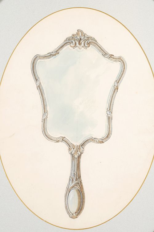 hand mirror drawing. Vintage Mirror Hand Drawing T