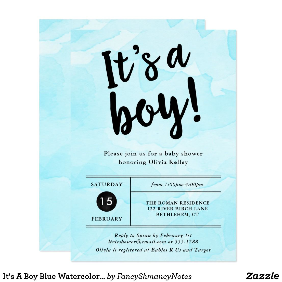 It\'s A Boy Blue Watercolor Baby Shower Invitation | Shower invitations
