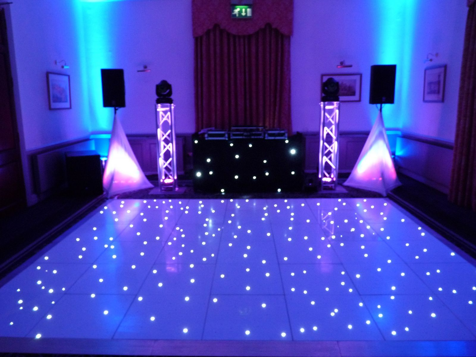 Our elegant wedding disco setup complimenting a white led