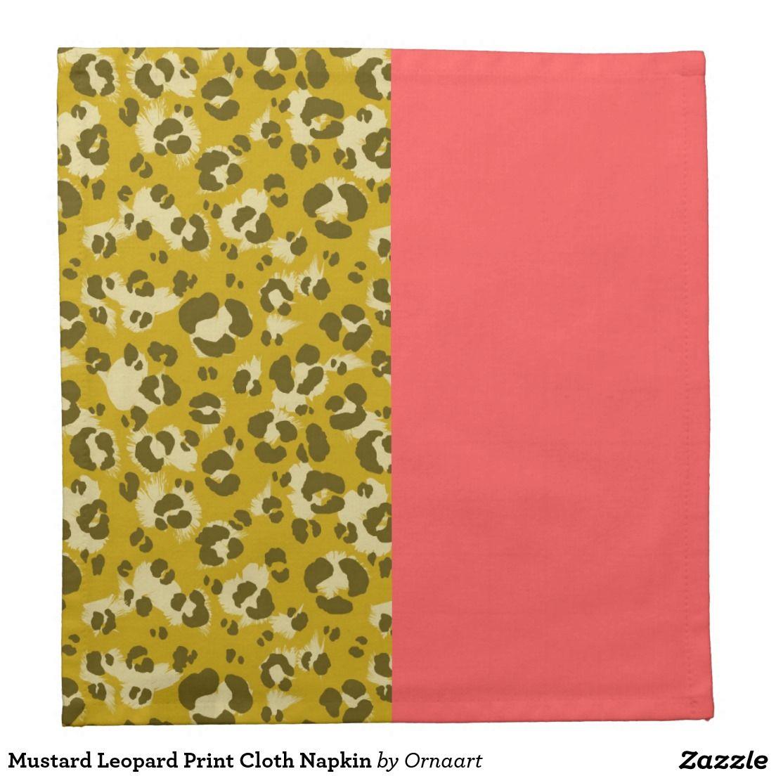 Mustard Leopard Print Cloth Napkin