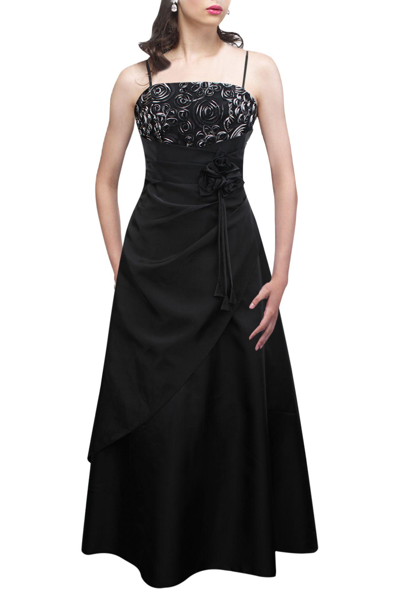 Black \'Belle\' Satin Bliss Long Evening Wedding Bridesmaid Ball Gown ...