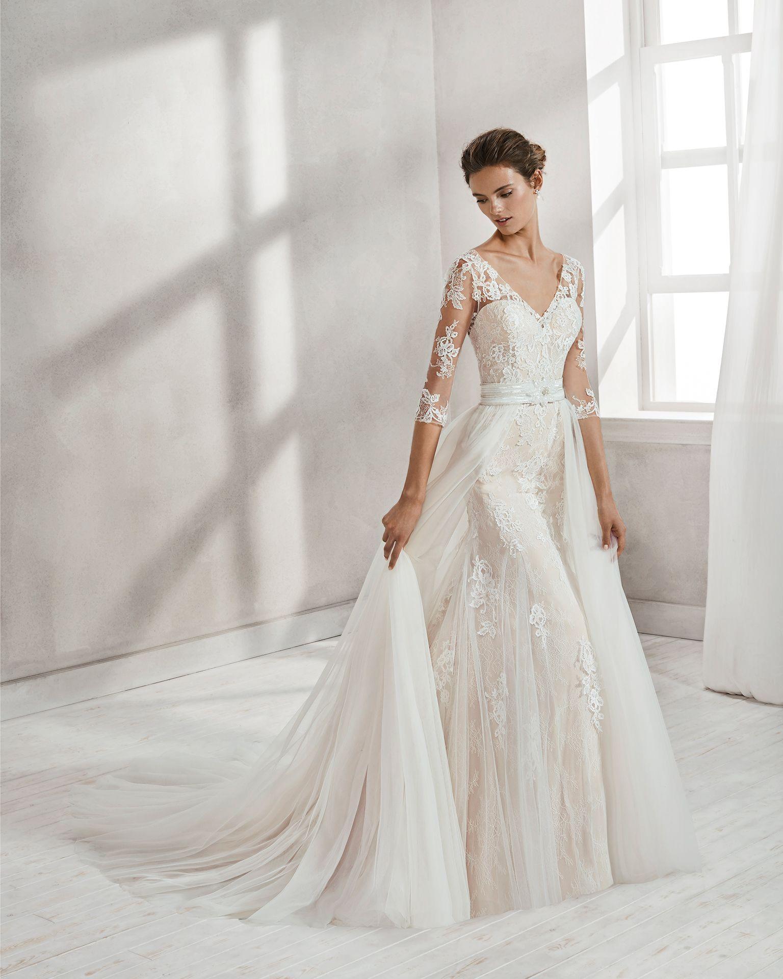 Vestido de novia corte sirena en encaje y pedreria. De manga ...