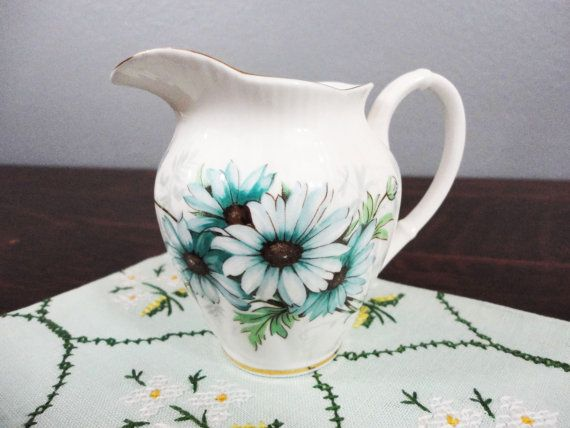 Jarra de leche Royal Albert Blue Floral porcelana China - 1950