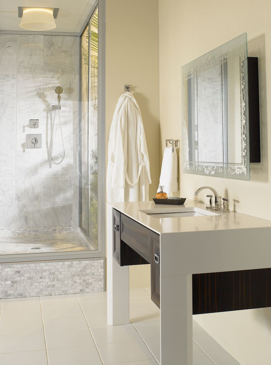 Pale yellow compliment the cool tones and innovative TOTO shower in ...