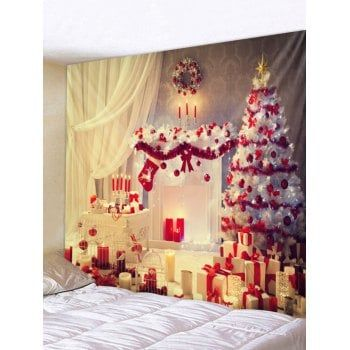 Christmas Tree Gifts Print Tapestry Wall Art Home Decor