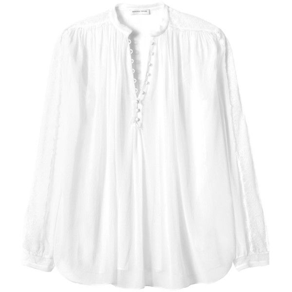 Rebecca Taylor Long Sleeve Silk Top with Lace (12.590 RUB) ❤ liked on Polyvore featuring tops, snow, white top, long sleeve lace top, layered tops, victorian top and lacy white top