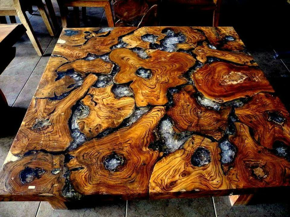 Teak roots and cracked resin table top home ideas for Wood table top designs