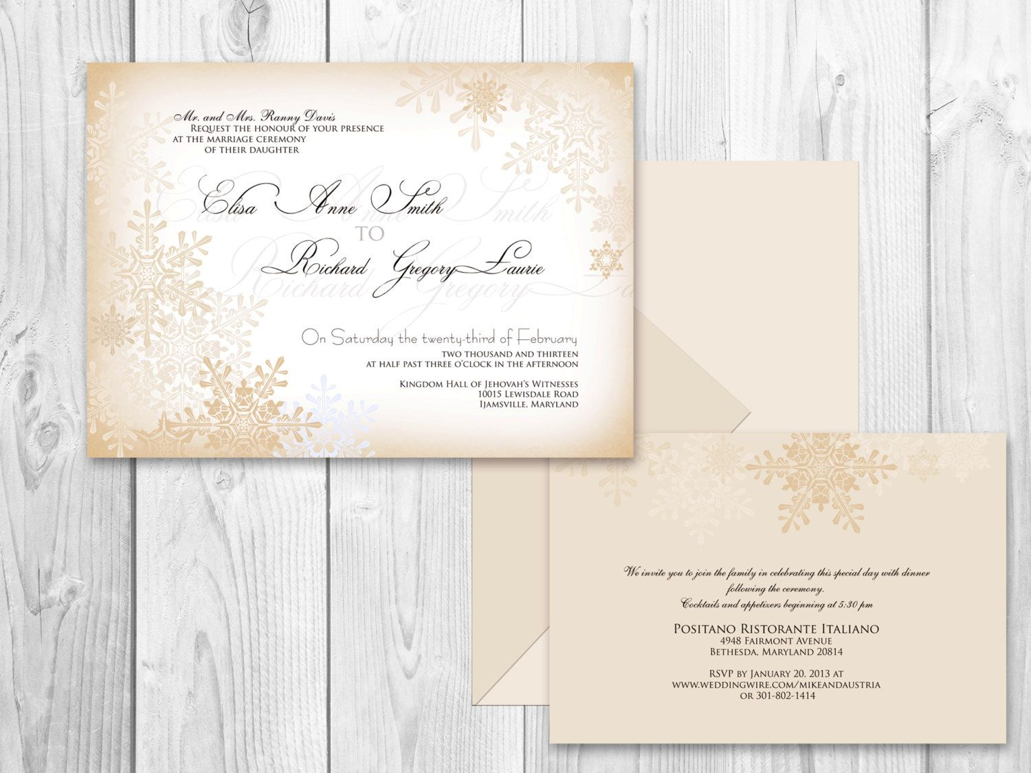 WEDDING INVITATIONS Winter Champagne version by DesignedWithAmore ...