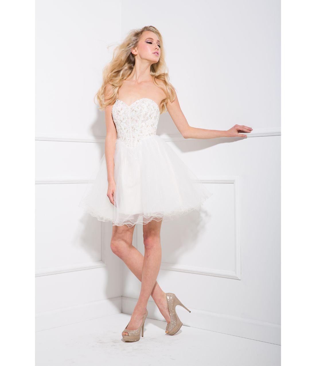 white prom dress short