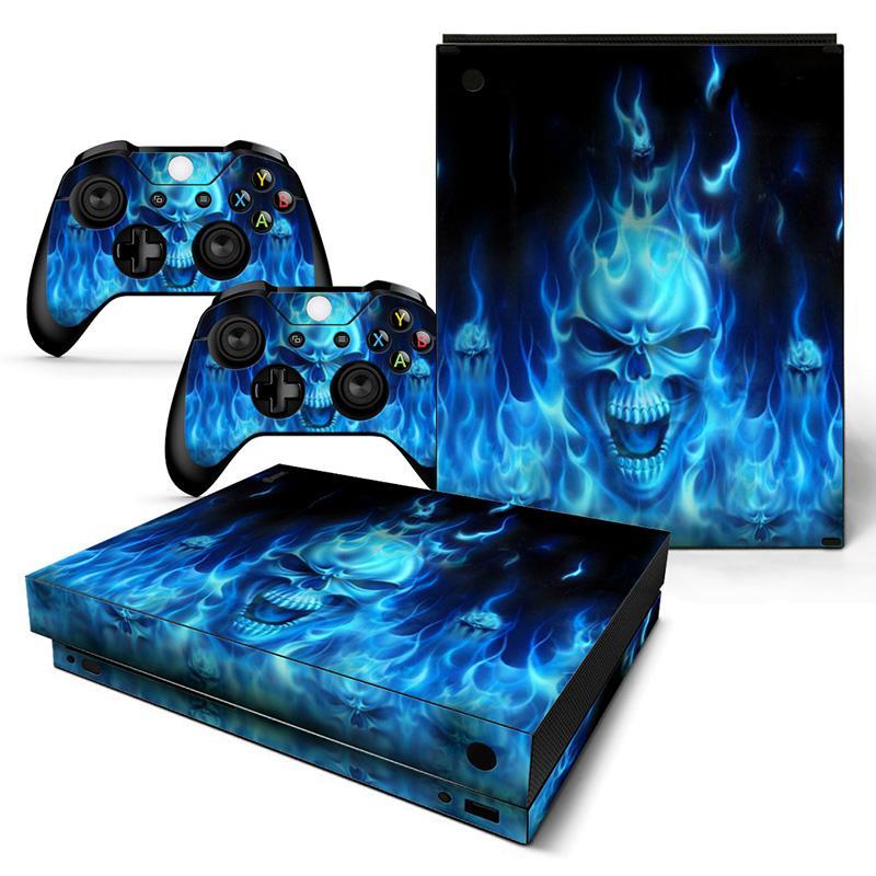 Modfreakz Console Controller Vinyl Skin Set Flaming Blue Skull For Xbox One X Modfreakz Xbox Vinylcollection Vinyl Ga Xbox One Skin Blue Skulls Xbox One