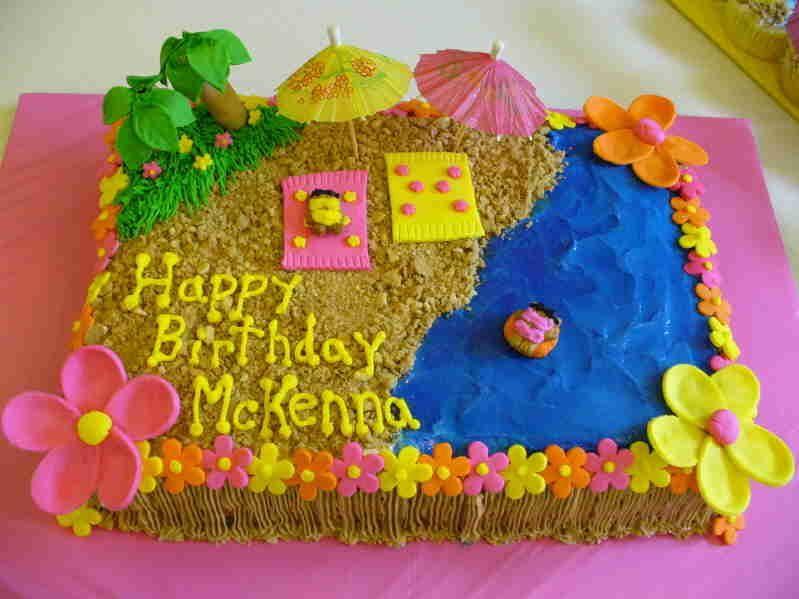 Beach Cake With Images Beach Themed Cakes Luau Birthday Cakes