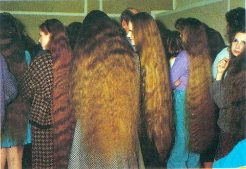 Contestants at the first longest hair competition in Lithuania in 1992
