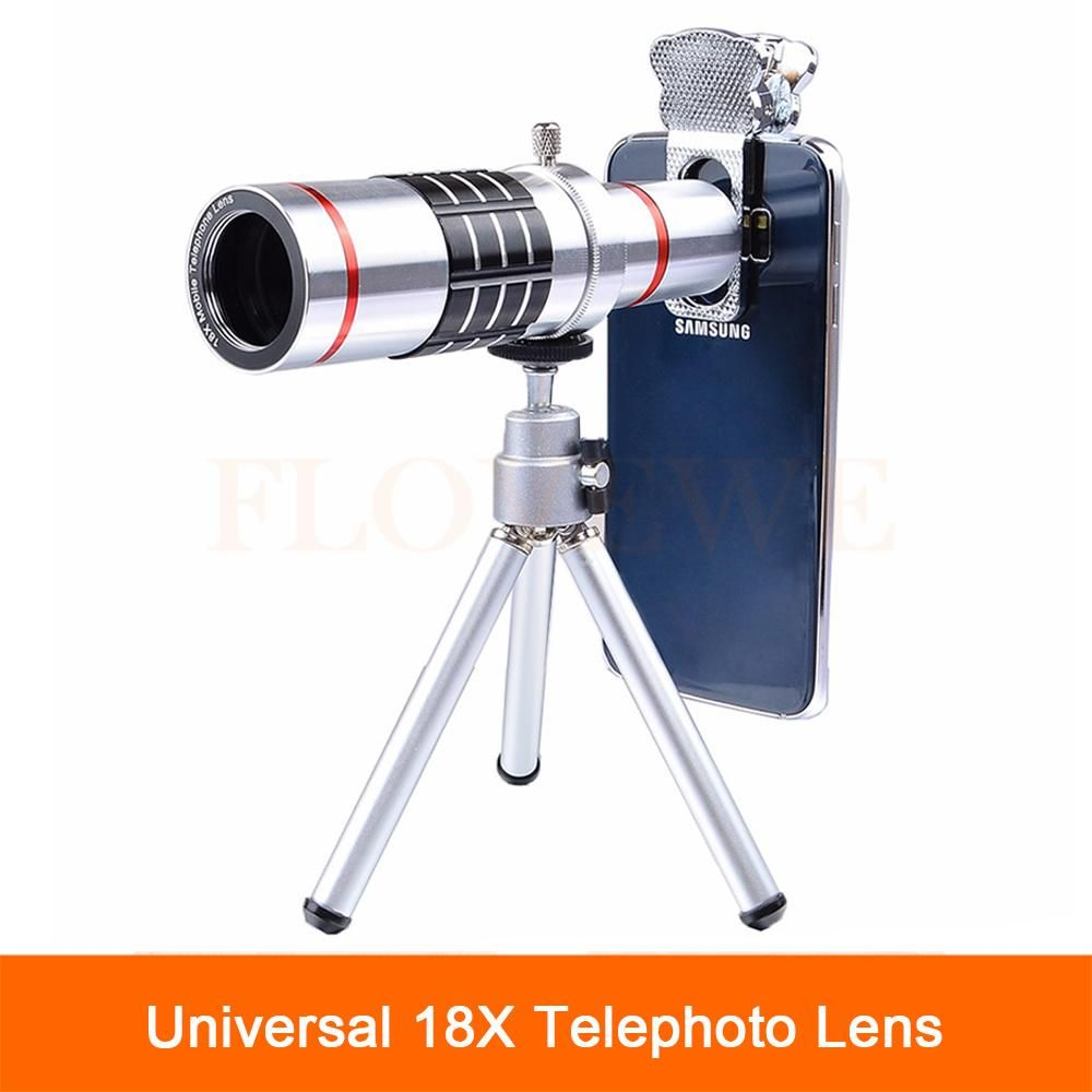 923f47809e7692 Universal 18X Optical Telescope Lens Phone Camera Lenses Telephoto Zoom Lens  For iPhone 7 5 6 S Plus Cell Phone with Tripod Clip