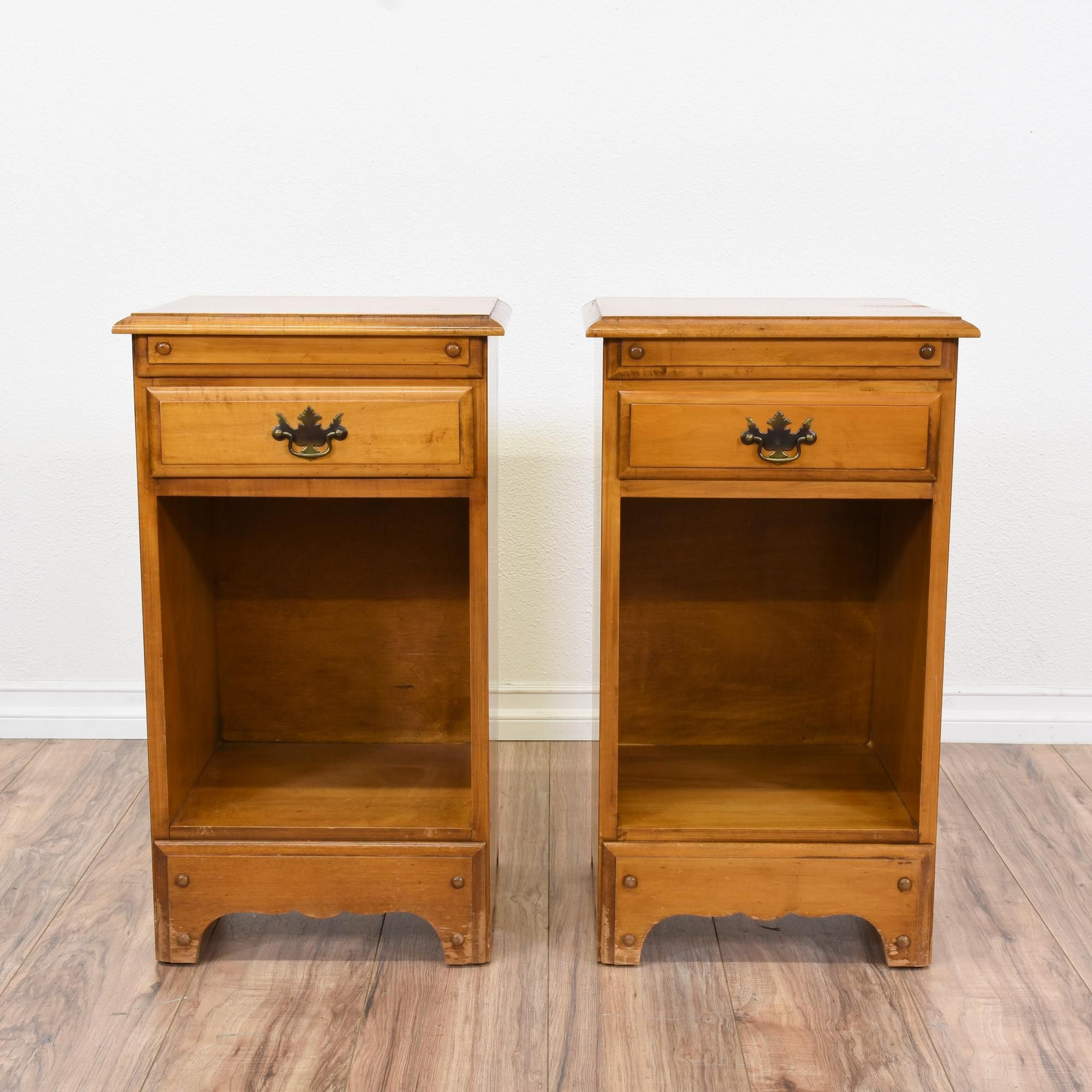 Pair Of Simple Maple Nightstands W/ 1 Drawer (With images