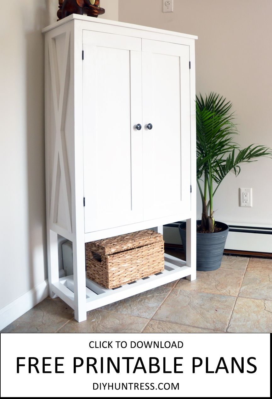 Learn How To Build A Trendy Wooden Cabinet With Decorative X Features With Free Printable Woodworking Plans Great For A Pantry Laundry Room Or Bathroom