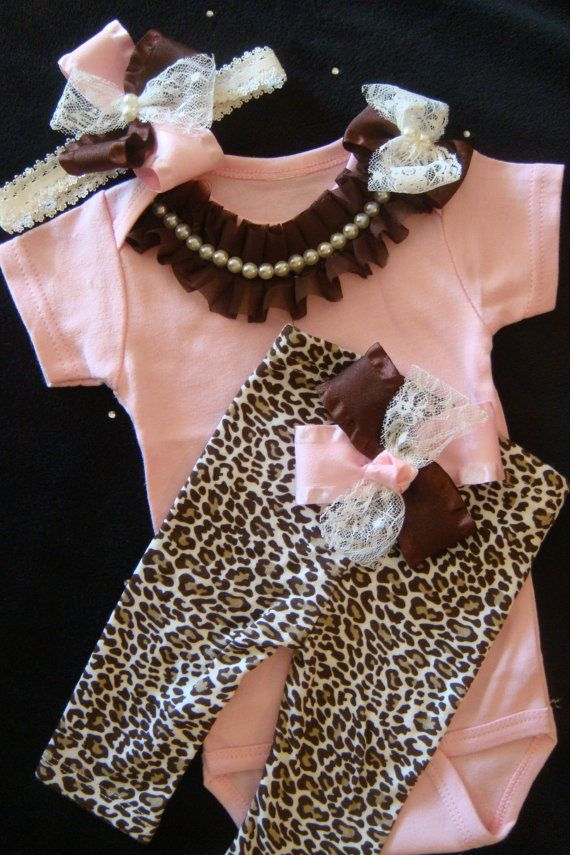 NEWBORN baby girl take home outfit complete onesie bodysuit leopard print  pants brown pink lace ribbon bows rhinestone pearl on Etsy 843a6fb7f
