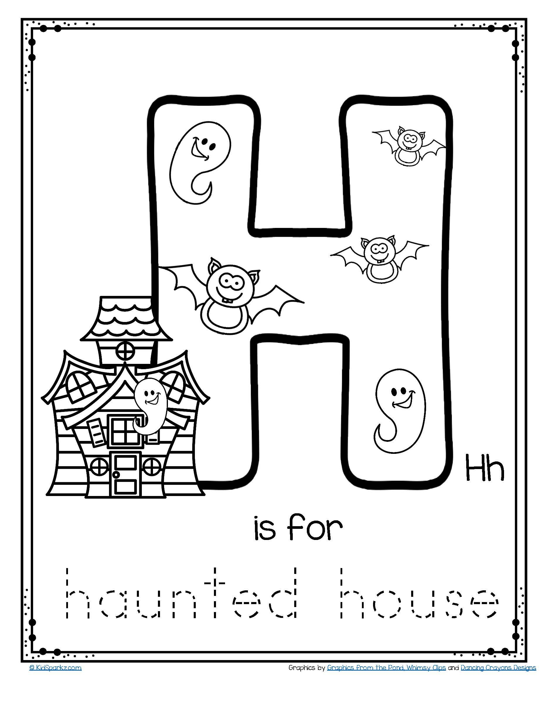 Halloween Letter H Is For Haunted House Trace And Color Alphabet Printable Free Preschool Letter Crafts Letter A Crafts Letter A Coloring Pages [ 2420 x 1870 Pixel ]