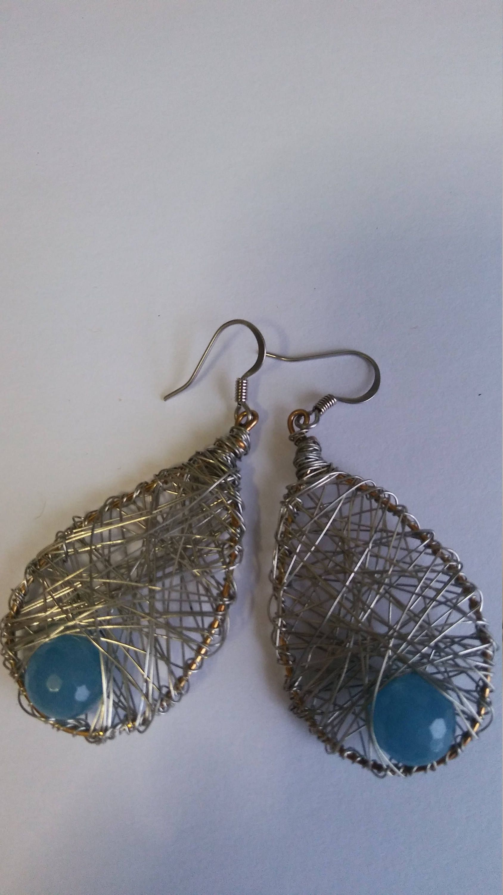 Handmade wire earrings silver color with blue crystals non-tarnish ...