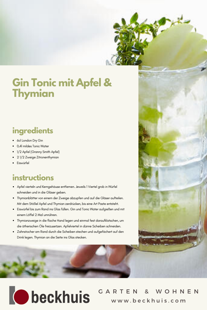 Gin Tonic Mit Apfel Thymian In 2020 Rezepte Lebensmittel Essen Granny Smith