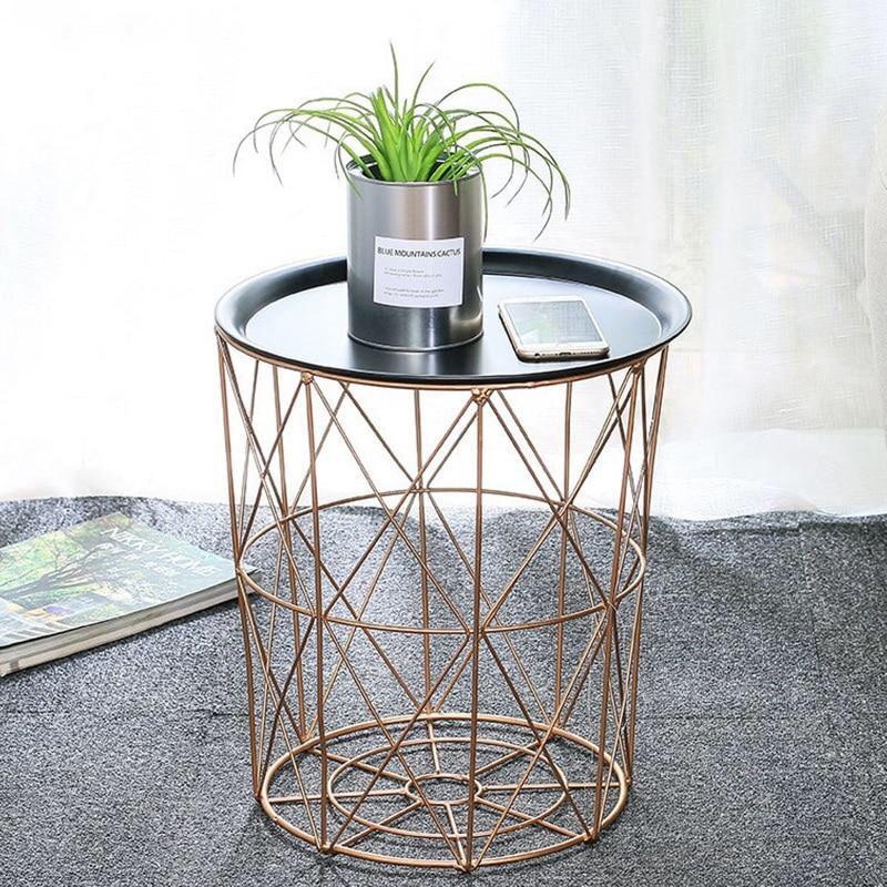 Modern Gold Round Wire Metal Storage Basket Side Table In 2020 Side Table Metal Side Table Storage Baskets
