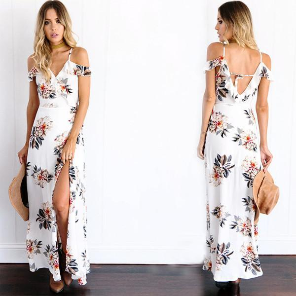 b95b04745dc Product Description  (Free Shipping) Buy cheap New Women s Fashion Elegant  Chiffon White Floral Maxi Dresses With Strap V-Neck and High slit online by  ...