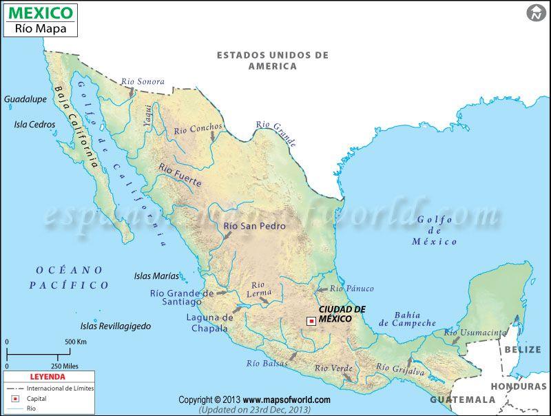 Rios De Mexico Mapa De Rios De Mexico Mapa De Mexico Lagos De Mexico Mapa Dibujo