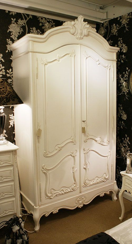 Cau White Plain Ornate 2 Door French Armoire Wardrobe