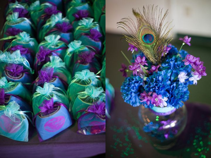 peacock purple turquoise wedding details centerpieces With purple and turquoise wedding favors