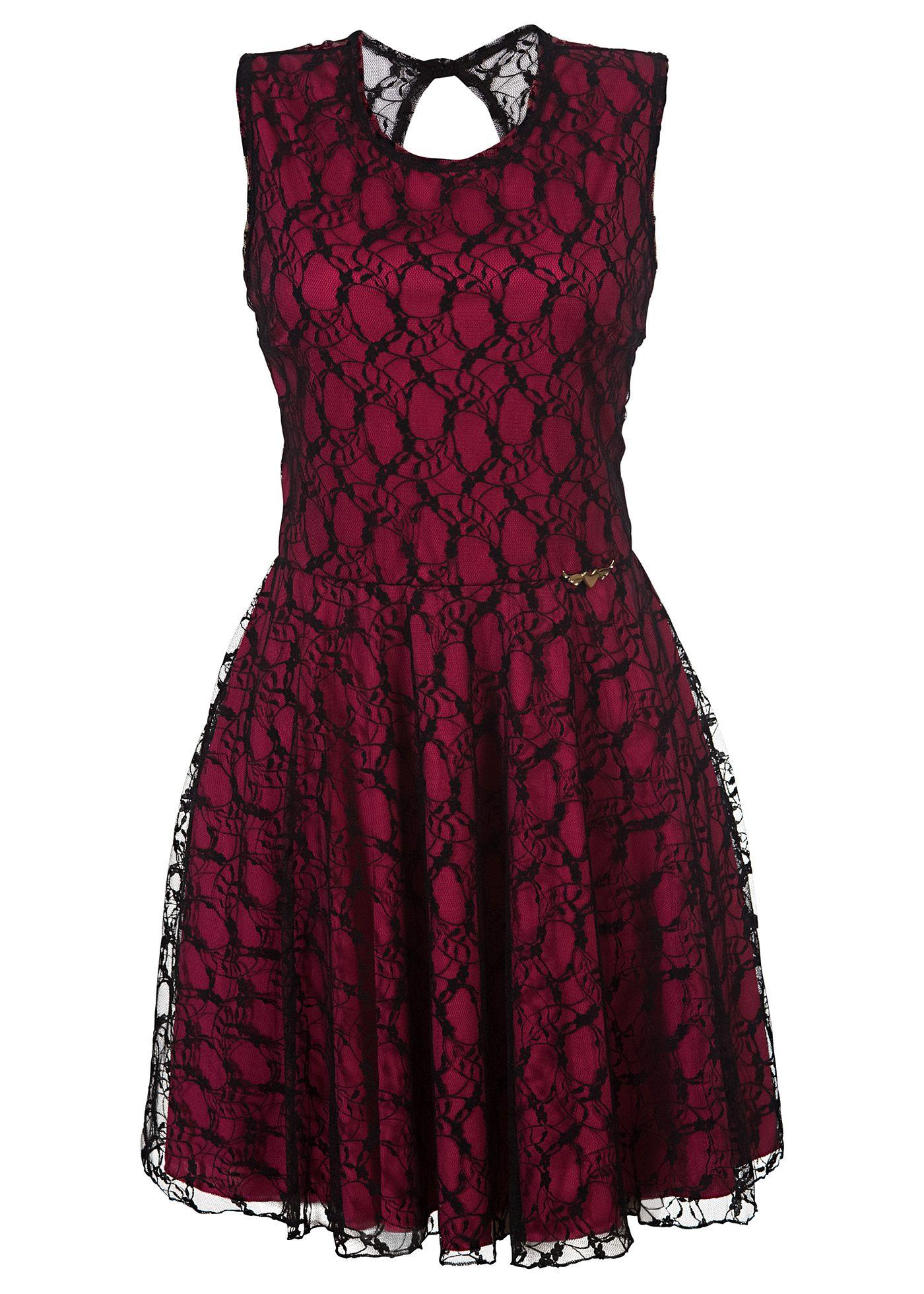 cedf2d92b Vestido de renda preto/pink encomendar agora na loja on-line bonprix.de R$  119,00 a partir de Este vestido é um clássico! Chique e simples.  Confeccionado .