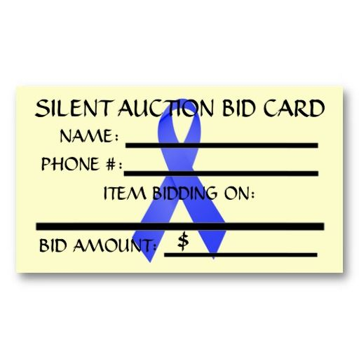 Oesophageal Cancer Silent Auction Bid Card Business Template