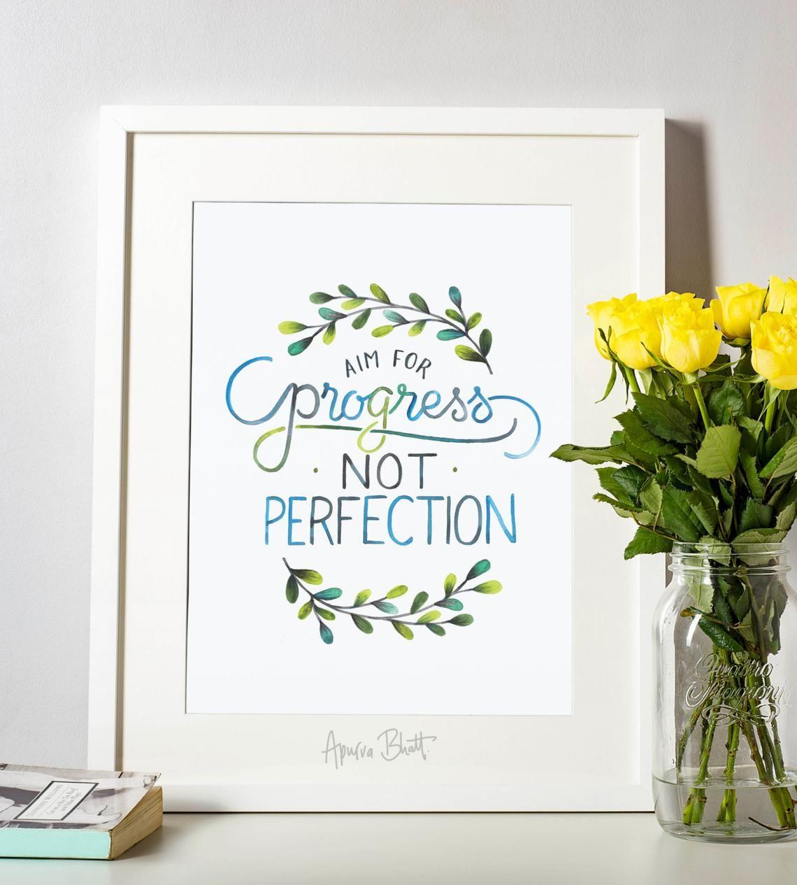 Aim for progress not perfection etsy progress not