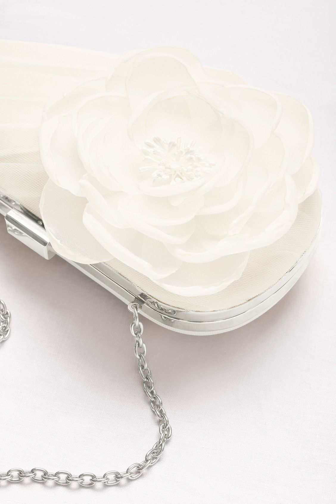 White by Vera Wang Tulle Clutch with Flower available at David s Bridal 10b9619d2301