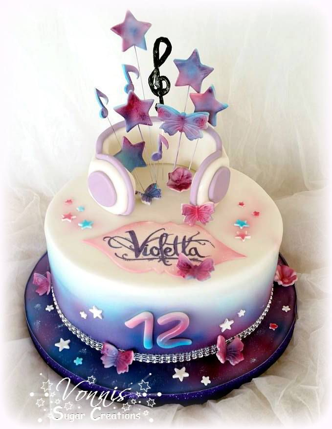 Violetta cake girl music airbrush fondant glitter bling notes